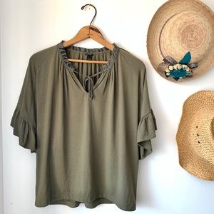 J. Crew olive green stretchy ruffle sleeve blouse